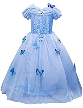 [Sponsorizzato]URAQT Costume regina delle ragazze della principessa Dresses Blue Butterfly Tulle vestito operato da sposa Cenerentola...