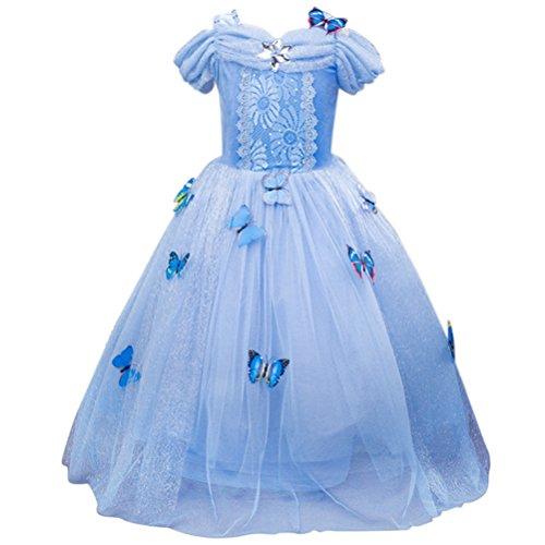 essin Kleider Blue Butterfly Königin-Kostüm Tüll-Kleid-Fantasie-Hochzeit Kleid Cinderella Rock (Einzigartige Holloween Kostüme)