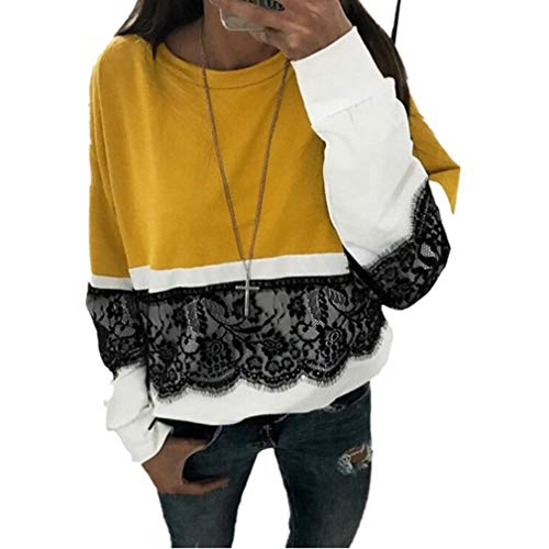 MEIbax Damen Herbst Casual Langarm Spitze Pullover Patchwork Sweatshirt T Shirt Bluse Tops Baggy Oberteile - Pailletten Seide Top
