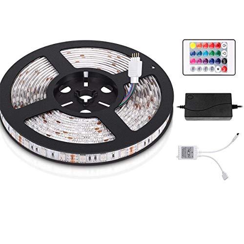 Salcar 5m RGB LED Strip mit 300 LEDs (SMD5050), IP65 wassergeschützt/wasserdicht, inkl. 24 Tasten IR Fernbedienung, Controller und 12V 60W Netzteil, 16 Farben auswählbar -