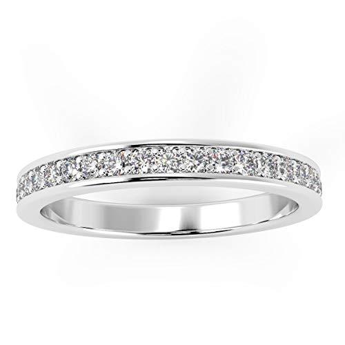 Special Offer .! UK Hallmarked Palladium 3 mm 0.40 Carat Round Diamond Half Eternity Ring - Clearance - gone is gone