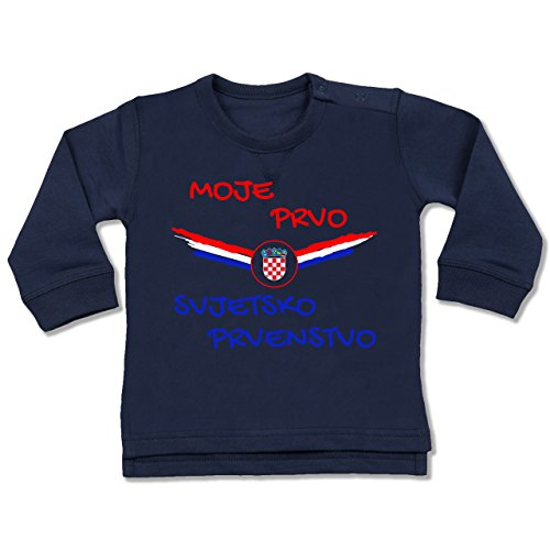 Shirtracer Fußball-Europameisterschaft 2020 - Baby - Meine erste WM Kroatien kroatisch - 6-12 Monate - Navy Blau - BZ31 - Baby Pullover - Fan-ellenbogen