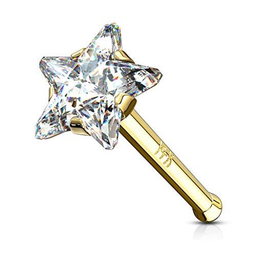 Paula & Fritz®, GDO-05, piercing per il naso, in vero oro, 14carati, con stella di zirconi e Oro giallo, colore: trasparente, cod. GDO-05_C