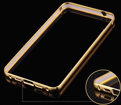 Taslar(TM) Luxury Mirror Metal Series Bumper Back Cover Case For Gionee S6 (Gold)