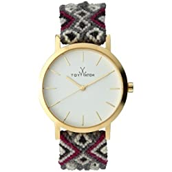 Toywatch Maya Women's Quartz Watch with White Dial Analogue Display and Grey Strap MYW09GD
