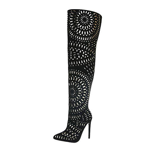 Ital-Design Damenschuhe Stiefel Overknees Synthetik Schwarz Gr. 38