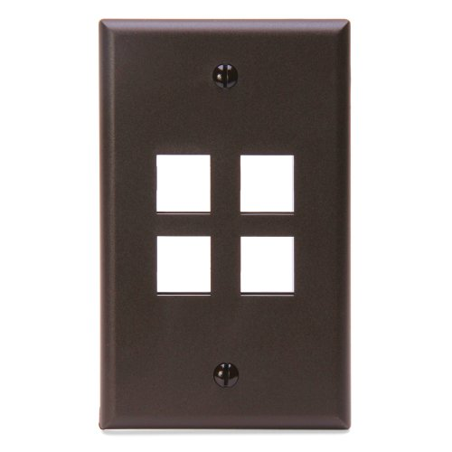 Leviton 41080-4BP QuickPort Wallplate, Single Gang, 4-Port, Brown by Leviton