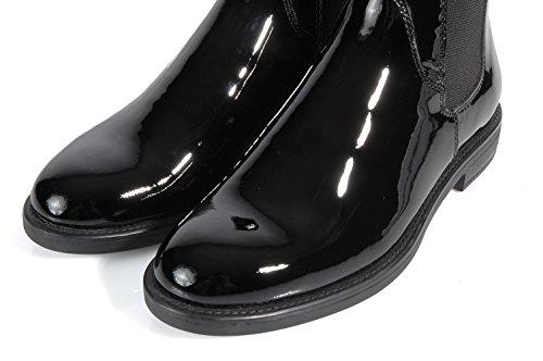 Vagabond Amina Black leather bootie patent-Bottine noire en cuir brillant Noir - Noir