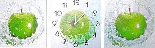 RELOJ DE PARED DISENO MODERNO MANZANA 3 PIEZAS + 2 IMAGENES - CUARZO - Tinas Collection