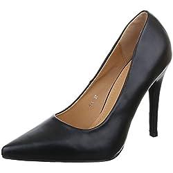 Damen Schuhe, F54, PUMPS, HIGH HEELS, Synthetik in hochwertiger Lederoptik , Schwarz, Gr 36