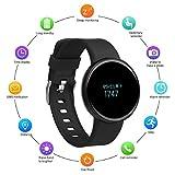 TaiYaun Fitness sockenuhr, Fitness Tracker mit Push-Message und Anrufer - ID Benachrichtigung Wasserdicht Smart Aktivitätstracker für Android iOS Smartphone (Schwarz)