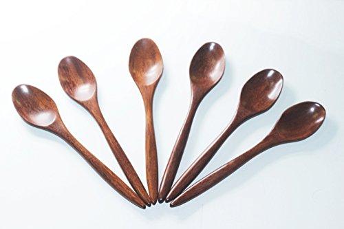 """6x 5""""in legno cucchiaini caffè cucchiaio piccolo Hand Craft legno di rosa"""