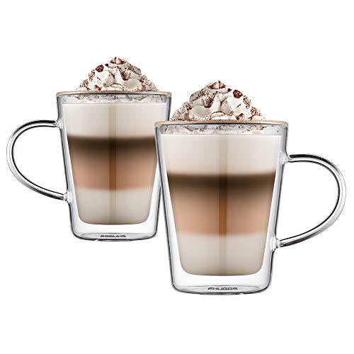 Ehugos Doppelwandige Cappuccino Tassen Glaser Latte Macchiato Glaser Set Thermoglas Trinkgläser Kaffeeglas 2-teiliges (350 mL)