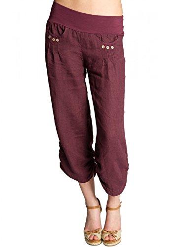 CASPAR Damen Leinen Hose 3/4 Sommer Boyfriendhose/Stoffhose/Capri Hose/MADE IN ITALY - viele Farben - KHS017, Farbe:bordeaux rot;Größe:44 XXL UK16 US14