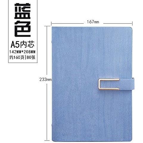 Creative Cuaderno cuadernos de hojas sueltas A5 portátil Stationery Office de la business journal 16,7*23,3 cm,azul