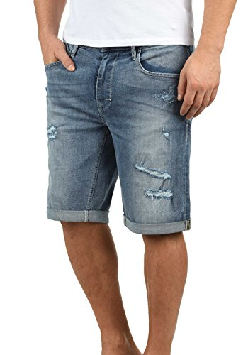 Blend Deniz Herren Jeans Shorts Kurze Denim Hose Mit Destroyed-Optik Aus Stretch-Material Regular Fit, Größe:S, Farbe:Denim Lightblue (76200)