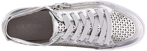 Guess Gerlie Damen Leder Sportliche Turnschuh Silver