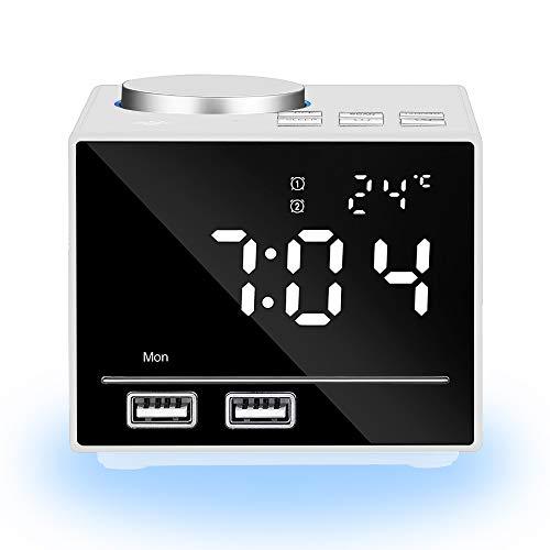 ANOLE Digital Wecker Bluetooth Radiowecker Lichtwecker Tisch Funk Uhr mit Nachtlicht,FM Radio Funk,Snooze,Doppelt Wecker,Einstellbare Helligkeit,Dual USB für iOS/Android Telefon und Tablets(Weiß)