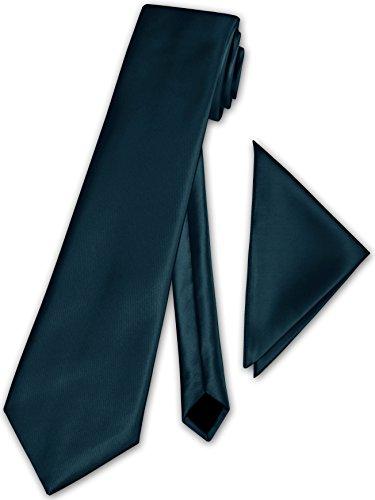 Herren Krawatte klassisch + Einstecktuch + Geschenkkarton - 40 Farben zur Auswahl (Dunkel Petrol)