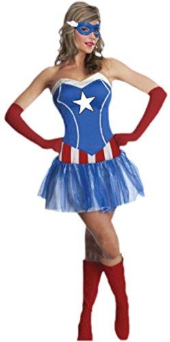 Superhelden Coole Kostüme (erdbeerloft - Damen Karnevalskomplettkostüm Minikleid Miss American Dream, M,)