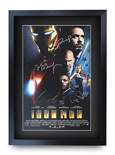 HWC Trading Iron Man A3 Gerahmte Signiert Gedruckt Autogramme Bild Druck-Fotoanzeige Geschenk Für Robert Downey Jr Terrence Howard Gwyneth Paltrow Jeff Bridges Filmplakat Fans