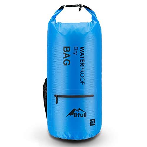 Bfull Dry Bag, 5L/10L/20L/30L/40L Leicht Wasserdichte Tasche/Trockensack mit 2 Außentasche mit Reißverschluss und lang Verstellbarer Schultergurt für Boot und Kajak Wassersport. Robuste Outdoor-boot