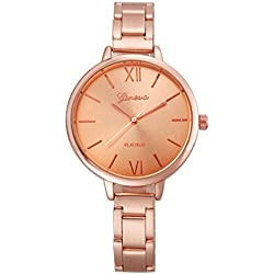 WINWINTOM Small Steel Band Analog Quartz Wrist Watch Rose Gold
