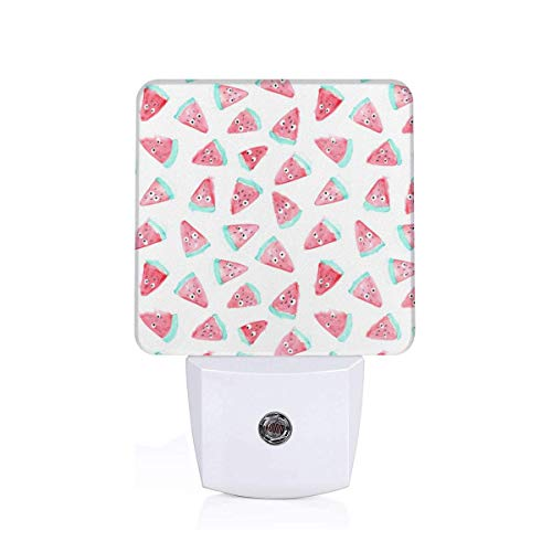 Watermelon With Eyes Pattern Funny Food Design Plug-in Night Light Warm White LED Nightlight Dusk-to-Dawn Sensor for children-US (Products Food Dawn)