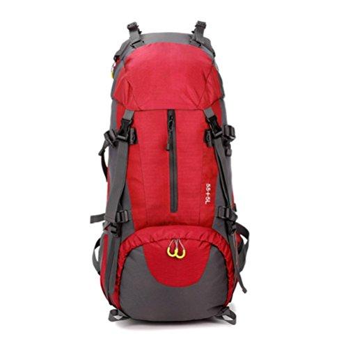 QPYC Zaino da montagna all'aperto 60L maschio e femmina da viaggio di grande capacità zaino pacchetto di viaggio impermeabile nylon , blue red