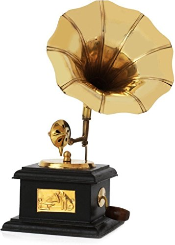 Handmade Wooden Vintage Gramophone Brass Showpiece 9 Inch Height decorative and antique gramophone