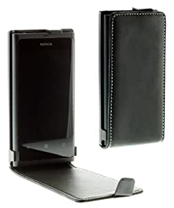 Works with Nokia Licensed Luxury Leather Alpha Vertical Flip Case Cover for Nokia Lumia 800 - Black
