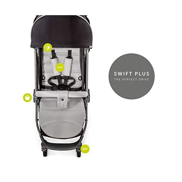 Hauck Swift Plus, Compact Pushchair with Lying Position, Extra Small Folding, One Hand Fold, Lightweight, Carrying Strap, from Birth Up To 15 kg, Silver/Charcoal Hauck EASY FOLDING - This pushchair is as easy to fold away as possible - the comfort stroller can be folded with one hand only within seconds, leaving one hand always free for your little ray of sunshine LIGHTWEIGHT - This pushchair can not only be folded away very compactly, but also easily transported by its carrying strap thanks to its light weight and aluminium frame COMFORTABLE - Backrest and footrest are multi-adjustable, the hood extendable. In addition, the pushchair comes with suspension, swiveling front wheels, soft padding, and large shopping basket 5
