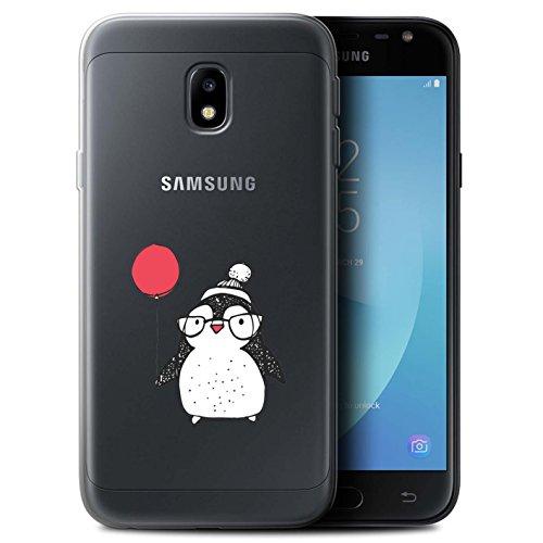 Stuff4® Gel TPU Hülle/Case für Samsung Galaxy J3 2017/J330 / Ballon & Brille Muster/Süßer Doodle Pinguin Kollektion