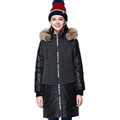 XYXY Abrigos de caliente suelta mantener de chaqueta con capucha de mujer . black . xxxxl