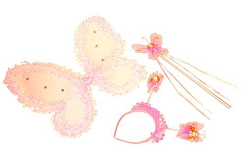 erdbeerclown - Kinder Kostüm Set- Pailletten Haarreif-Zauberstab-Flügel, Feen-Prinzessinen 40x33cm , (Erwachsene Jasmin Für Prinzessin Accessoires)