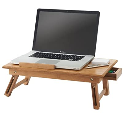 VonHaus Bamboo Portable Folding Laptop/Notebook Table with Drawer, Free 2 Year Warranty
