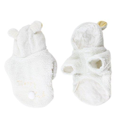 DealMux Schoßhund-Weiß Schaf-Entwurf Hoodie Sleeved Mantel Kostüm Bekleidung (Hund Schaf Kostüm Für)