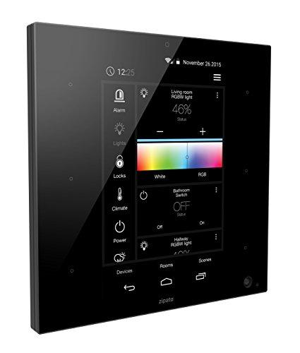 Zipato zt.zweuzbee.b Z-Wave Plus ZigBee Zipatile Haus-Sicherheits-Alarmanlage und Automatisierungssystem, Schwarz (Gateway-touchscreen)