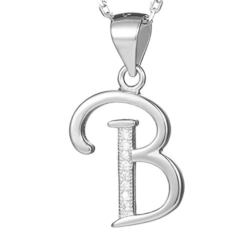 Morella Damen Halskette Silber mit Buchstabe B Anhänger 925 Silber rhodiniert mit Zirkoniasteinen weiß 45 cm