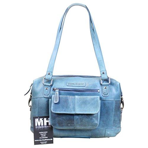 HILL BURRY Damen Schultertasche Beuteltasche Shopper Bag Büffelleder Leder Grün, Farbe:Dunkelbraun Hellblau