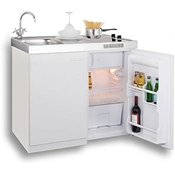 Mebasa mk0006 singleküche miniküche 100 cm weiß mit duo ceran kochfeld kühlschrank