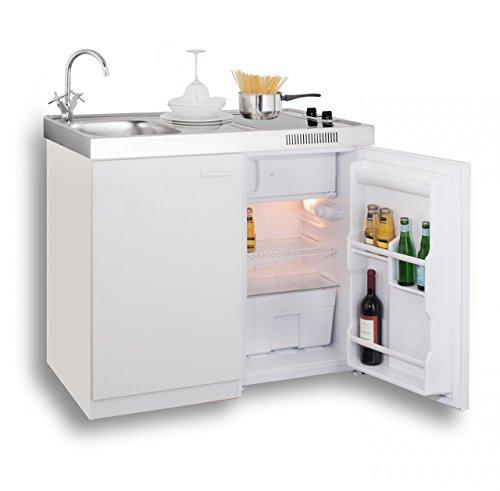 MEBASA MK0006 Singleküche, Miniküche 100 cm Weiß mit Duo-Ceran-Kochfeld, Kühlschrank