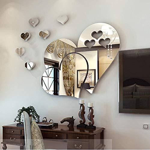 Cute 3D Mirror-Surface Wall Sticker Heart Shape Diy Art Mural Home Decoration Wall Ornament Waterproof