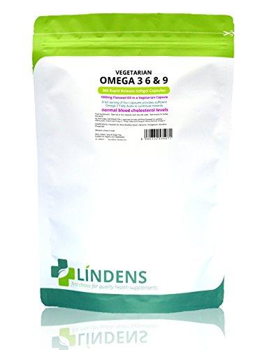 Lindens Linaza vegetariana Omega 3 6 y 9 1000 mg en cápsulas | 360 Paquete | Especialmente formulada para veganos y vegetarianos; contribuye al mantenimiento de los niveles normales de colesterol en sangre