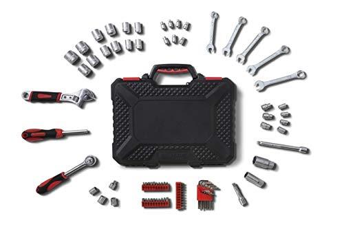 WOLFGANG 83 Teile Werkzeugkoffer mit Werkzeug Set, Schraubendreher, Schraubenschlüssel, Steckschlüsselsatz, Ratsche, Für Haushalt, Auto KFZ, Werkstatt, Industrie, Werkzeugkasten gefüllt - 83 Teile