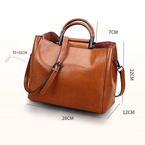 Uzanesx Handtaschen Hobo Umhängetaschen Tote Lederhandtaschen Mode Große Kapazität für Frauen mit Gurt (Color : Brown) -