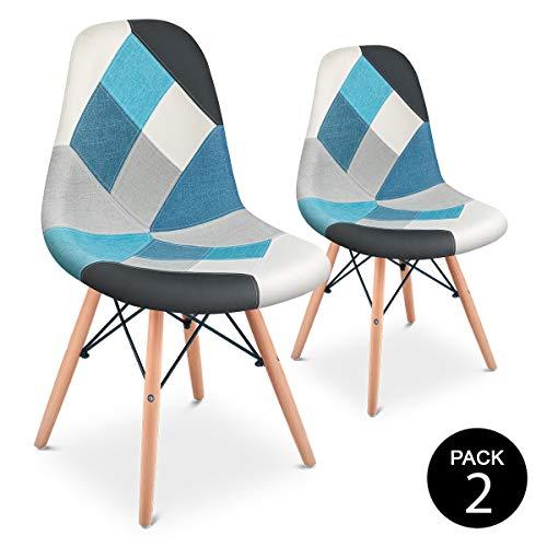 Mc Haus Pack 2 Sillas Comedor Vintage Diseño Tapizado Estilo Patchwork, Azul,...