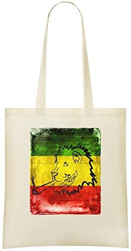 Smoking Ganja Kundenspezifische bedruckte Einkaufstasche - 100% weiche Baumwolle - umweltfreundliche u. Stilvolle Handtasche für täglichen Gebrauch (Smoking Rasta)