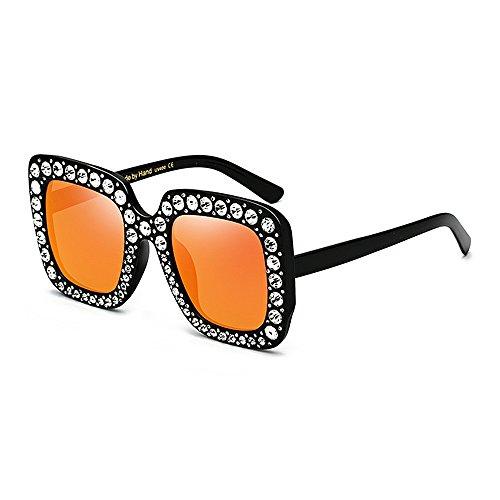 Yiph-Sunglass Sonnenbrillen Mode Damen Sonnenbrille Übergroße Crystal Lady Sonnenbrille Platz für Frauen Sonnenbrillen UV Schutz Persönlichkeit Coole Bling für Ball Driving Reisen (Farbe : Orange)
