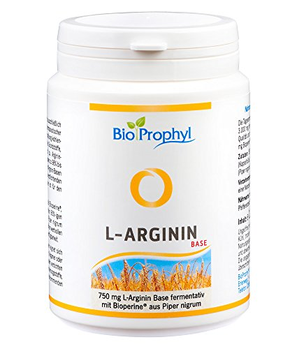 BioProphyl® L-Arginin Base mit 750 mg rein pflanzlichem L-Arginin ohne HCL mit Bioperine® – aus fermentativer, deutscher Herstellung – 120 pflanzliche Kapseln